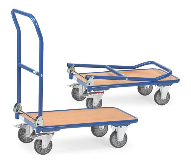 Opklapbare wagen, houten laadvlak, 250 kg, RAL 5007