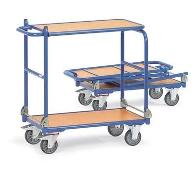 Opklapbare wagen, houten laadvlak, 2 etges, 250 kg, RAL 5007