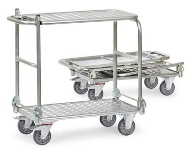Opklapbare wagen, Aluminium, 2 etges, 200 kg