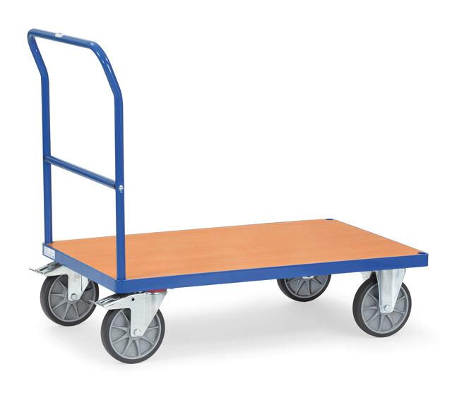 Duwbeugelwagen, Houten laadvlak, 500 kg, RAL 5007