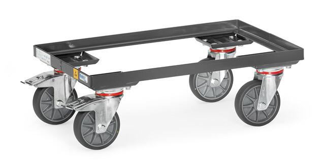 ESD-Rolplateau, Eurobakken, open frame, 250 kg, RAL 7015