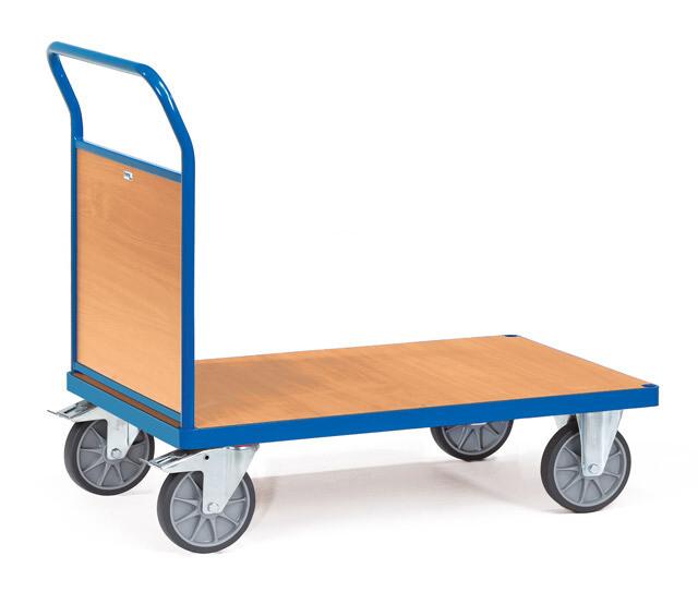 Kopwandwagen, Houten laadvlak, 1 wand, 600 kg, RAL 5007