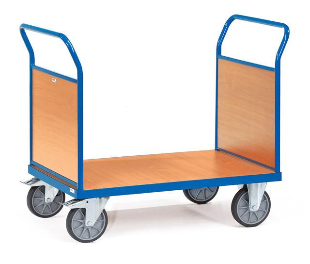 Kopwandwagen, Houten laadvlak, 2 wanden, 600 kg, RAL 5007