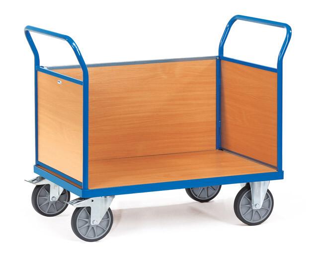 Kopwandwagen, Houten laadvlak, 3 wanden, 600 kg, RAL 5007