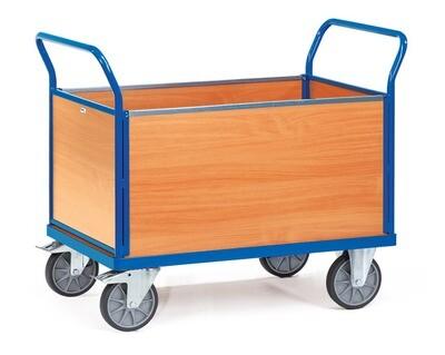 Kopwandwagen, Houten laadvlak, 4 wanden, 500 kg, RAL 5007