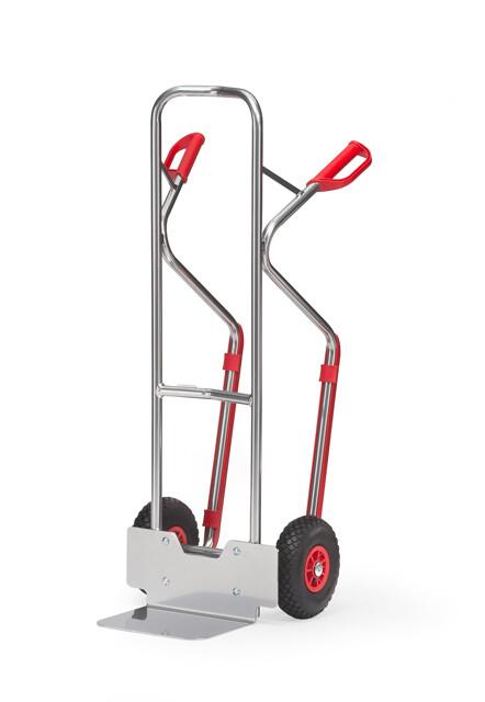 Steekwagen, Gebogen beugels, Smalle schep, 300 kg, Aluminium