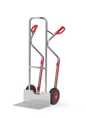 Steekwagen, Gebogen beugels, Brede schep, 300 kg, Aluminium