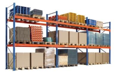 Palletstelling, Complete set, B8.444 x D1.100 mm, 610 kg Palletgewicht, 4 Niveaus