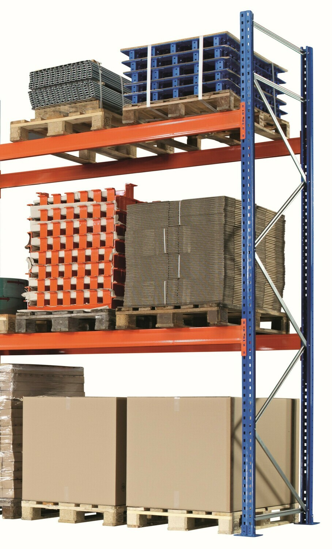 Palletstelling, Aanbouwmodule, B2.786 x D1.100 mm, 610 kg Palletgewicht, 4 Niveaus