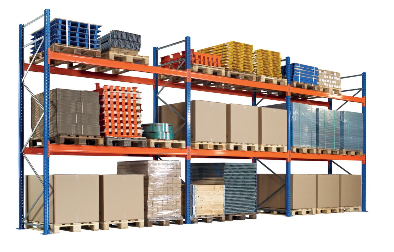 Palletstelling, Complete set, B8.444 x D1.100 mm, 860 kg Palletgewicht, 3 Niveaus
