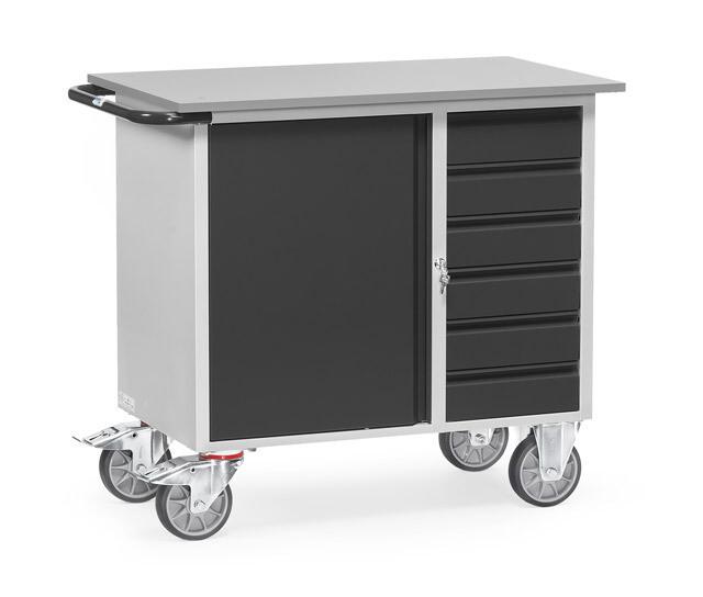 Werkplaatswagen 400 kg, Deur, 6 Schuifladen, Staalplaat, RAL 7016