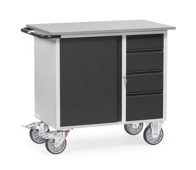 Werkplaatswagen 400 kg, Deur, 4 Schuifladen, Staalplaat, RAL 7016