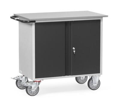 Werkplaatswagen 400 kg, Deuren, Staalplaat, RAL 7016