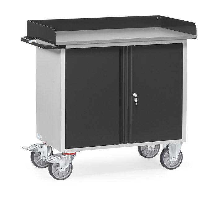 Werkplaatswagen 400 kg, Met rand, Deuren, Staalplaat, RAL 7016