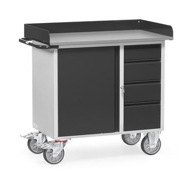 Werkplaatswagen 400 kg, Met rand, Deur, 4 Schuifladen, Staalplaat, RAL 7016