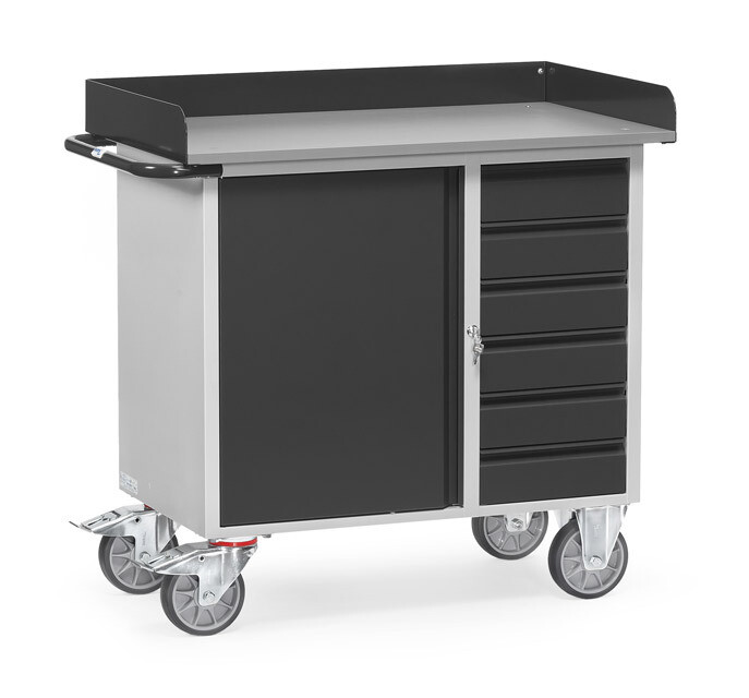 Werkplaatswagen 400 kg, Met rand, Deur, 6 Schuifladen, Staalplaat, RAL 7016
