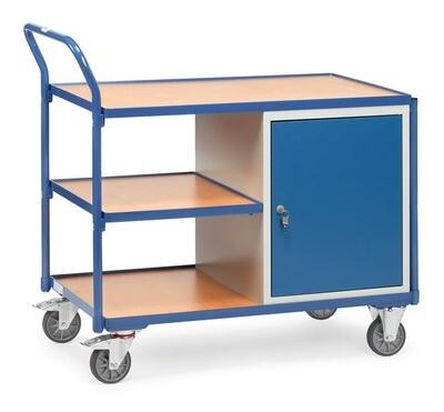 Werkplaatswagen 300 kg, Deur, 3 Etages, Hout, RAL 5007