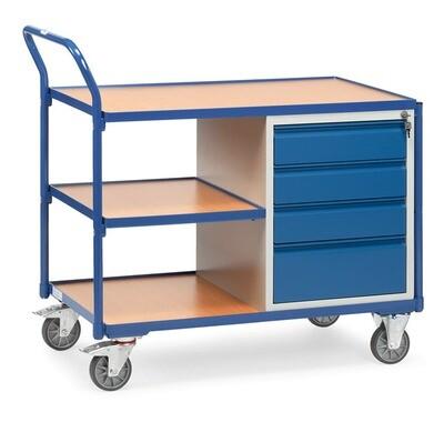 Werkplaatswagen 300 kg, 4 Schuifladen, 3 Etages, Hout, RAL 5007