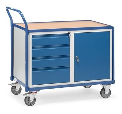 Werkplaatswagen 300 kg, Deur, 4 Schuifladen, Hout, RAL 5007