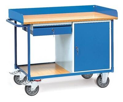 Werkplaatswagen 400 kg, Met rand, Deur, 1 Schuiflade, Hout, RAL 5007
