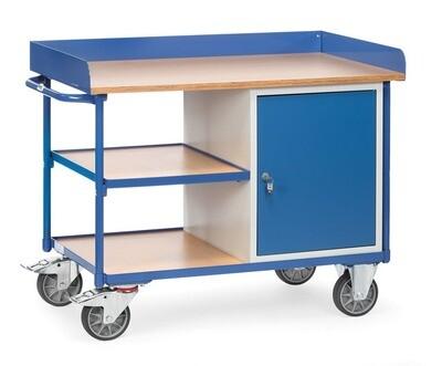 Werkplaatswagen 400 kg, Met rand, Deur, 3 Etages, Hout, RAL 5007