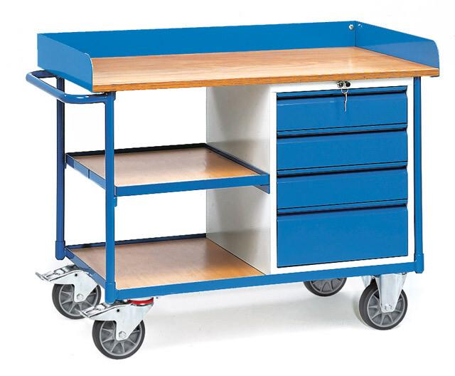 Werkplaatswagen 400 kg, Met rand, 4 Schuifladen, 3 Etages, Hout, RAL 5007