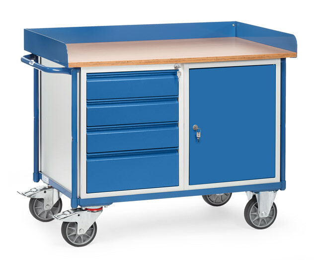 Werkplaatswagen 400 kg, Met rand, Deur, 4 Schuifladen, Hout, RAL 5007