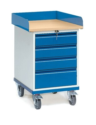 Werkplaatswagen 150 kg, Met rand, 4 Schuifladen, Hout, RAL 5007
