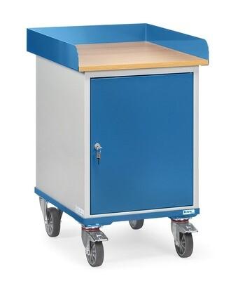 Werkplaatswagen 150 kg, Met rand, Deur, Hout, RAL 5007