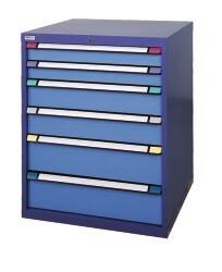 Schuifladenkast, H1.000 x B1.005 x D695 mm, blauw