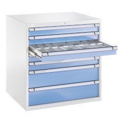 Schuifladenkast, H1.000 x B1.005 x D695 mm, blauw/grijs
