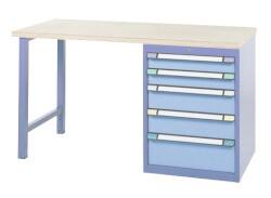 Standaard werkbank, 5 Schuifladen, H840 x D700 mm, blauw