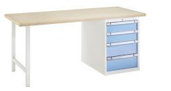Standaard werkbank, 4 Schuifladen, H840 x D700 mm, grijs