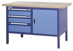 Compact werkbank, Schuifladen, Deur, H845 x D700 mm, blauw