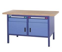 Compact werkbank, Schuifladen/deur, H845 x D700 mm, blauw
