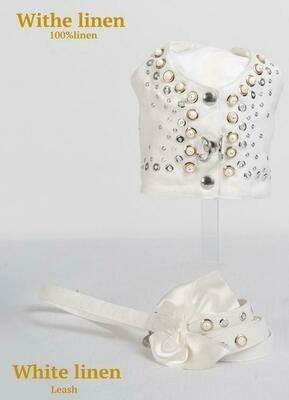 White Linen harnas + Leiband - Stock