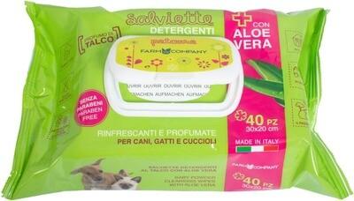 Verzorgende doekjes(wipes) voor huisdieren met aloë vera 10x