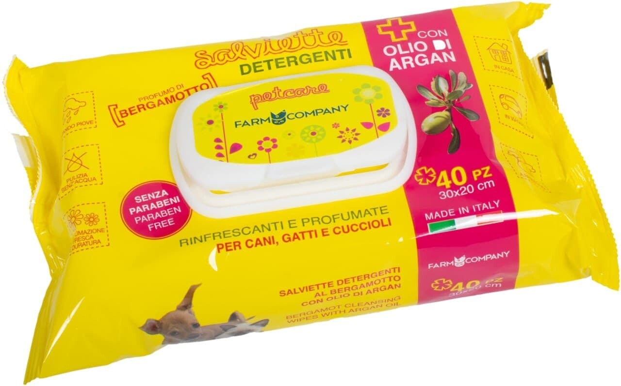 Pet cleansing wipes with argan oil and bergamot scent 12x
