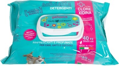 Pet cleansing wipes with chlorhexidine and white musk fragrance 12x