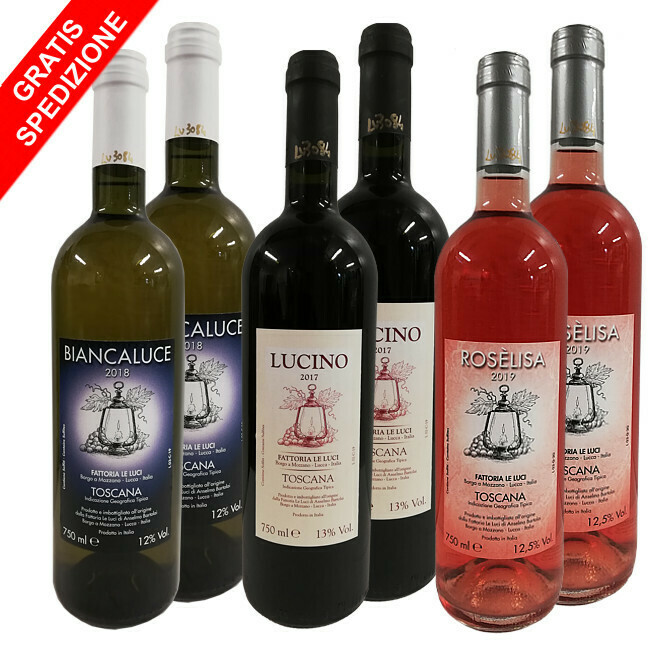 "Offerta ""Wine Discover Fattoria Le Luci"" - 6 bottiglie 0,75L (2 Lucino + 2 Biancaluce + 2 Rosèlisa)"