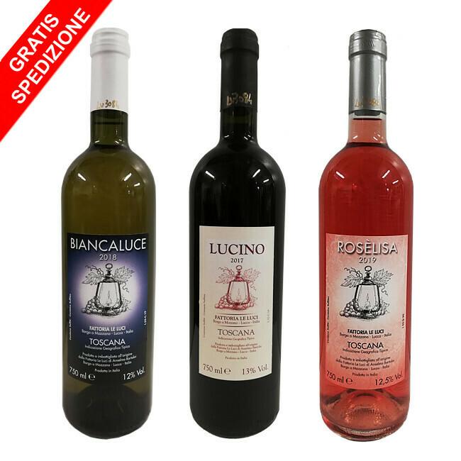 "Offerta ""Wine Taste Fattoria Le Luci"" - 3 bottiglie 0,75L (1 Lucino + 1 Biancaluce + 1 Rosèlisa)"