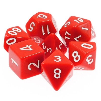 7 Die Set: Opaque Red
