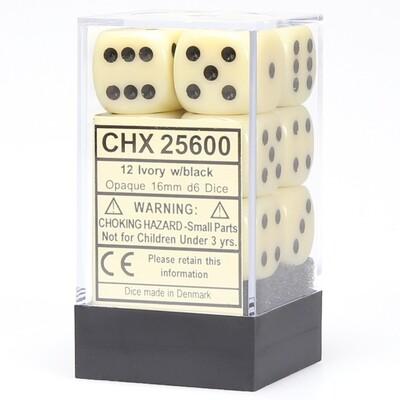 16mm Opaque Ivory/Black (12 ct.)