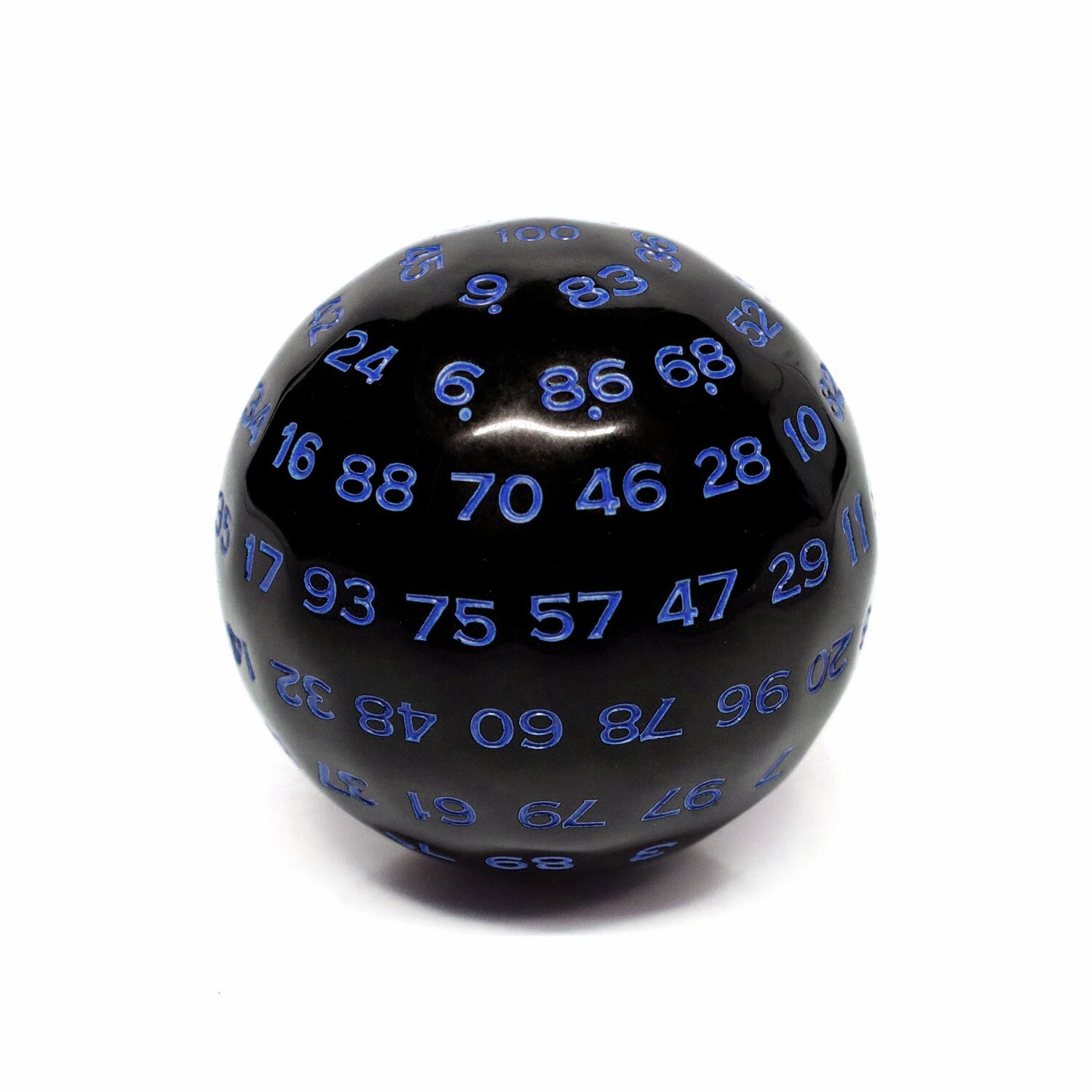 d100 Die: Black/Blue Opaque