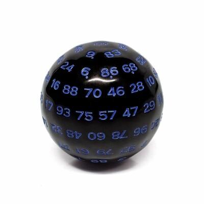 d100 Die: Black/Blue Opaque