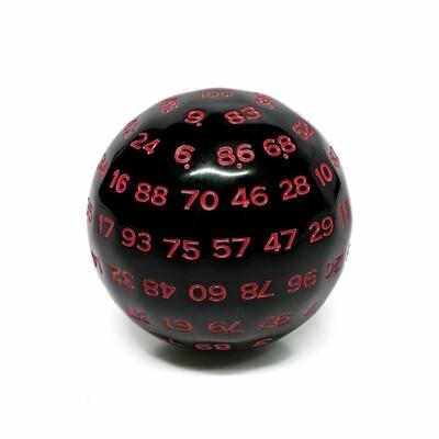d100 Die: Black/Red Opaque