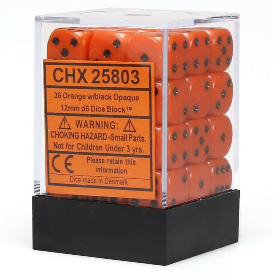 12mm Opaque Orange/Black (36 ct.)
