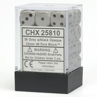 12mm Opaque Grey/Black (36 ct.)