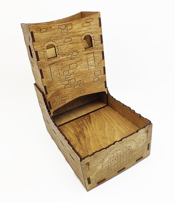 Wooden Dice Tower with Tray: