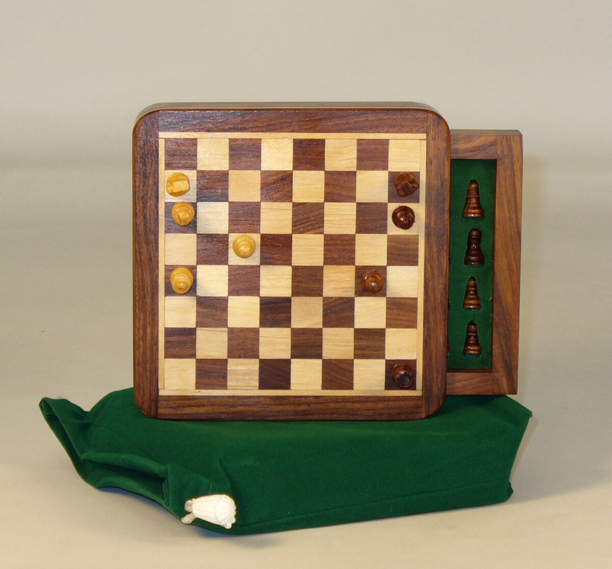 "Travel Chess Set Wood 5"" Square Magnetic with Drawer"